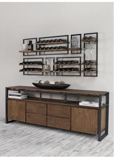 Бюфет и винен бар от дърво и метал модел SD brown код 012